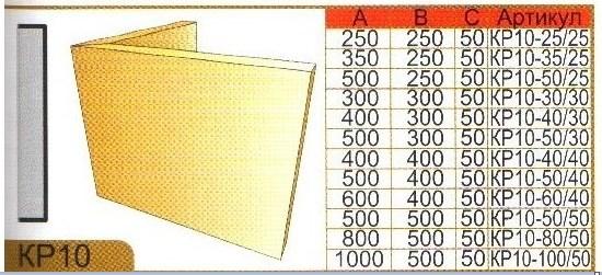 Размеры углового фасадного камня КР10