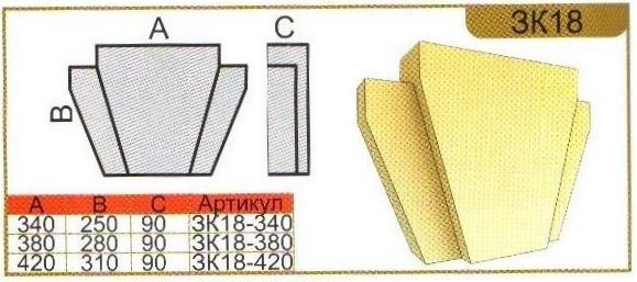 Характеристики замкового камня ЗК18