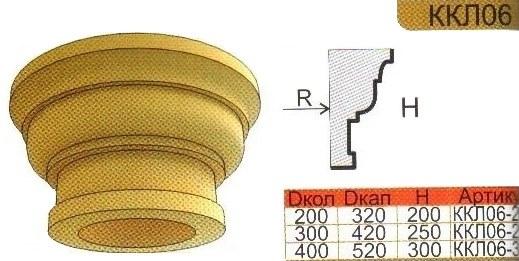 Капитель колонны из пенополистирола ККЛ06 с размерами