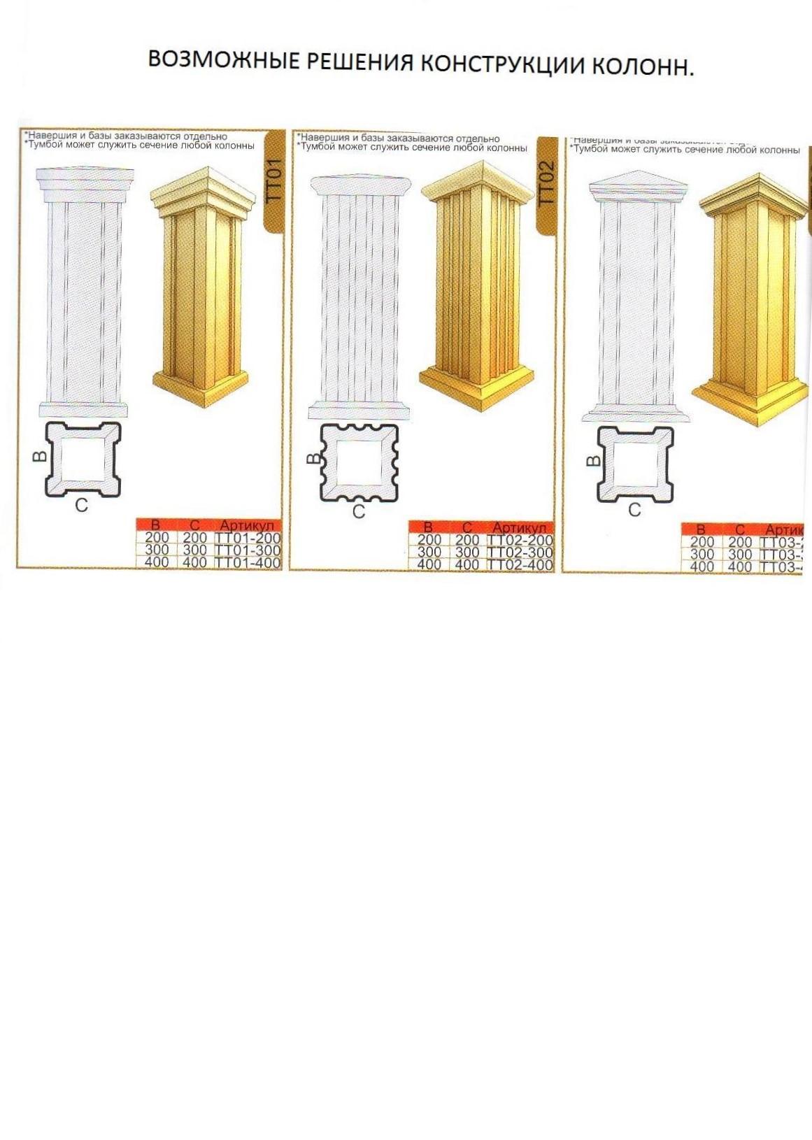 возможные решения конструкции колон для фасадного декора