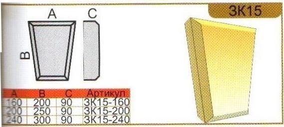 Параметры камня ЗК15