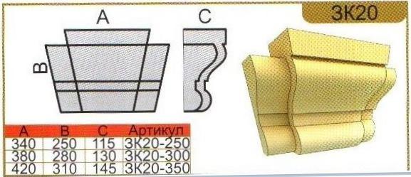 Размеры замкового камня ЗК20