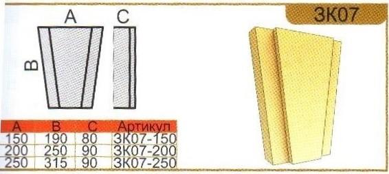 Параметры замкового камня ЗК07